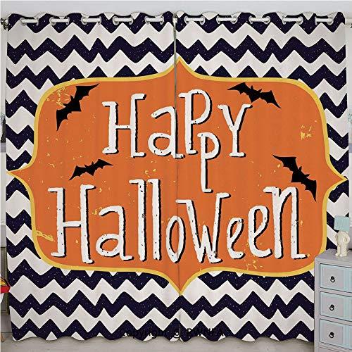 Justin Harve window Cute Halloween Greeting Card Inspired Design Celebration Doodle Chevron Decorative Bedroom Blackout Curtains Set of 2 Panels(84