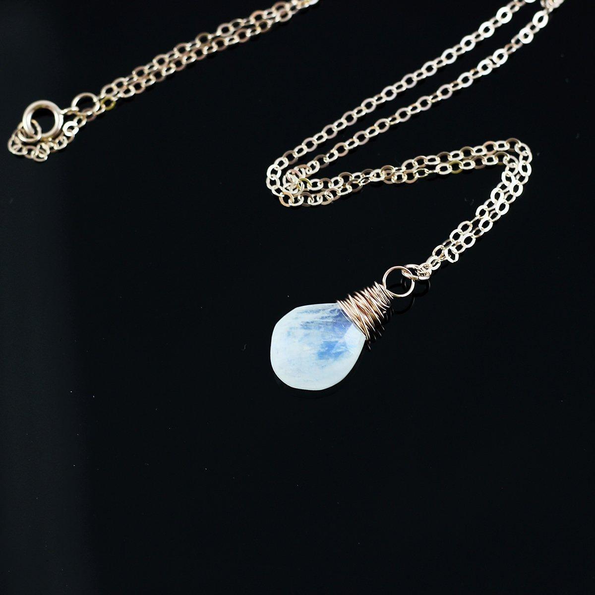 Rainbow Moonstone Rose Gold Pendant Necklace - 18 Length