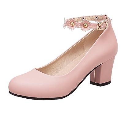 UH Damen Chunky Heels Pumps Geschlossen High Heels mit Reiszlig;verschluss Square Toe Schuhe