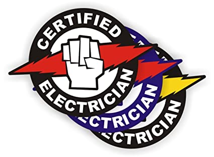 bf5c0c0313a (3) Certified Electrician Hard Hat Stickers   Electrical Safety Helmet  Decals   Labels Toolbox Wiring Lineman - - Amazon.com