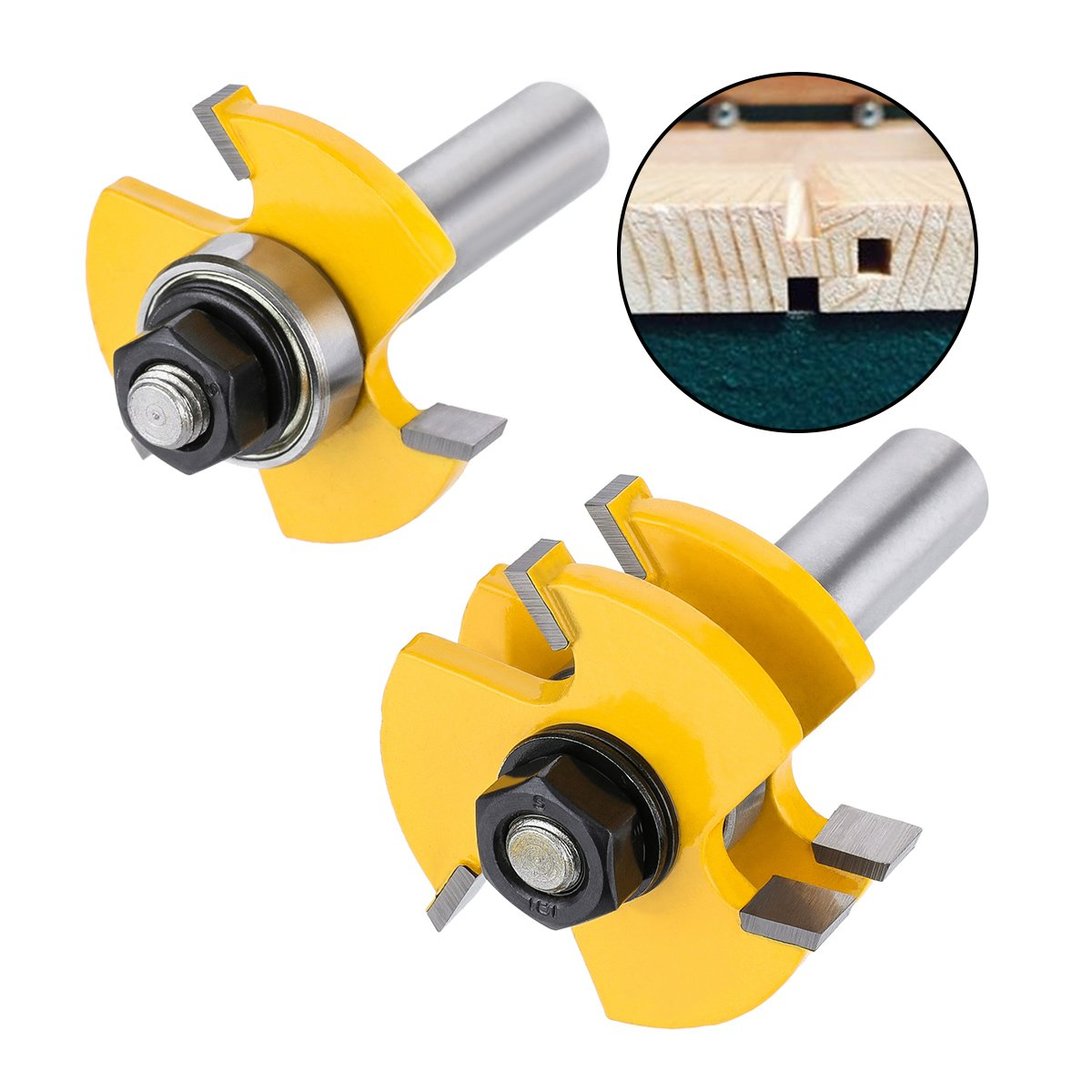 Tongue and Groove Set,DRILLPRO 2PCS Router Bit Set 1/2-Inch Shank T Shape Wood Milling Cutter Woodworking Tool For Doors, Tables, Shelves, Walls, DIY Woodwork by DRILLPRO (Image #3)