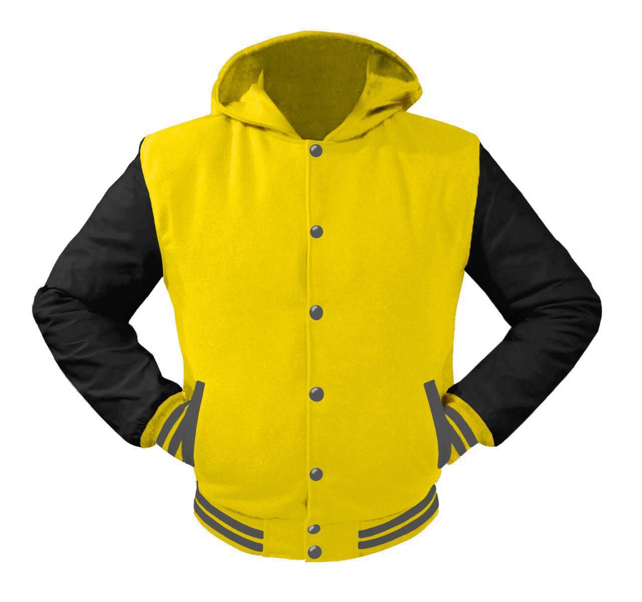 luvsecretlingerie Superb Leather Sleeve Original American Varsity Letterman College Baseball Kid Wool Hoodie Jackets #B-G-G