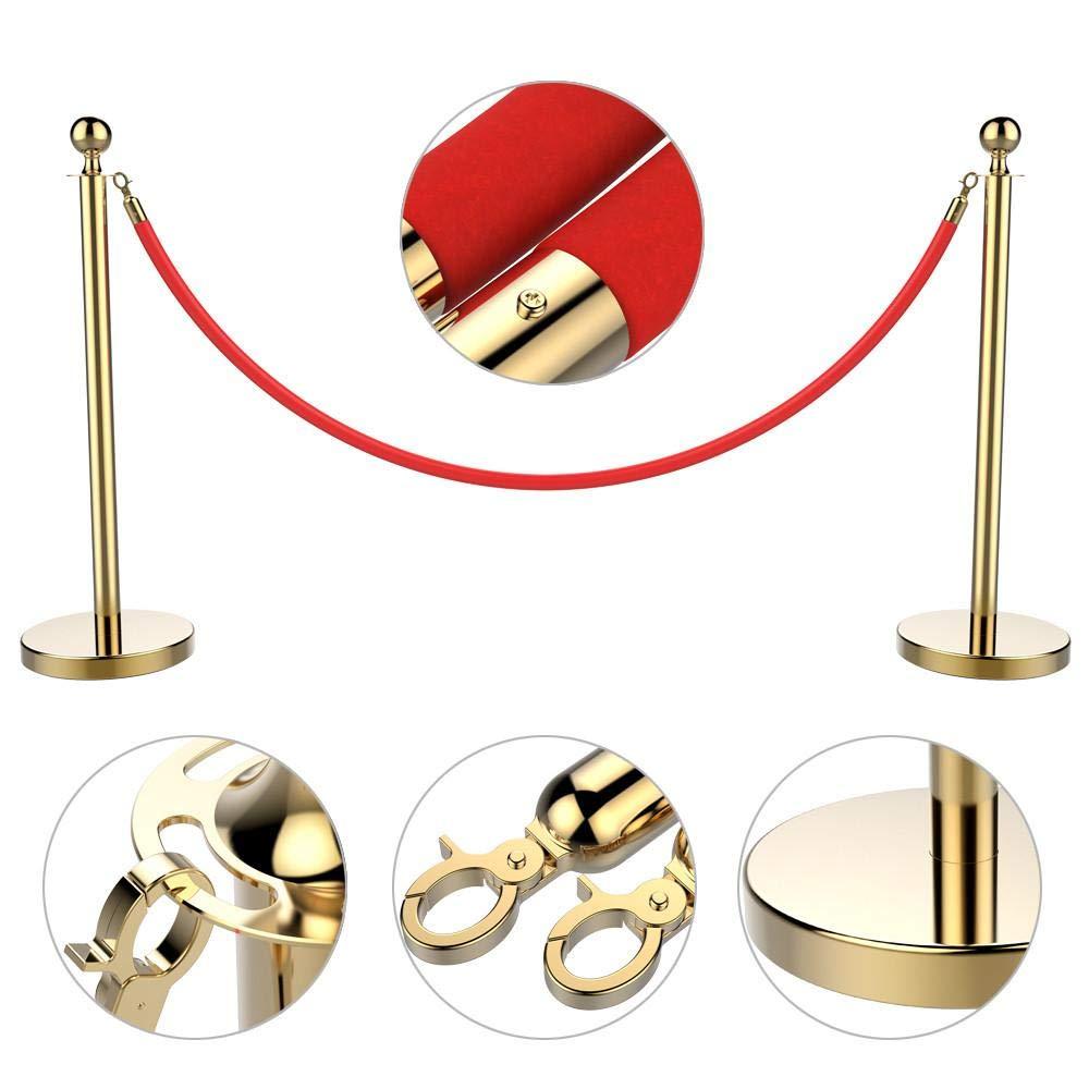 Yaheetech Pack de Postes Separador con Cinta Extensible 200 cm Separadores con Cord/ón Oro