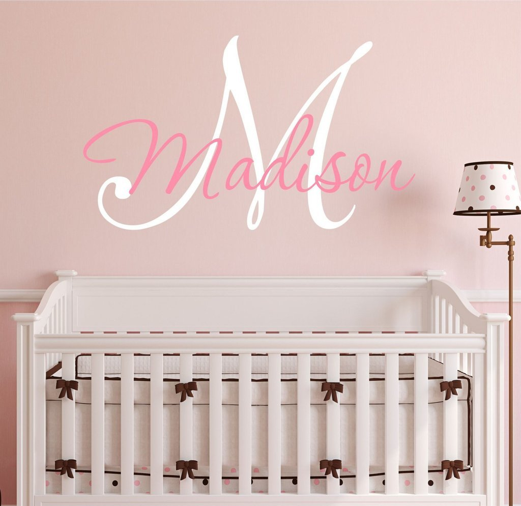 Nursery Custom Name and Initial Wall Decal Sticker 34'' W by 25'' H, Girl Name Wall Decal, Girls Name, Wall Decor, Personalized, Girls Name Decor, Nursery Bedroom Baby Decor Plus Free Hello Door Decal by Decor Designs Decals