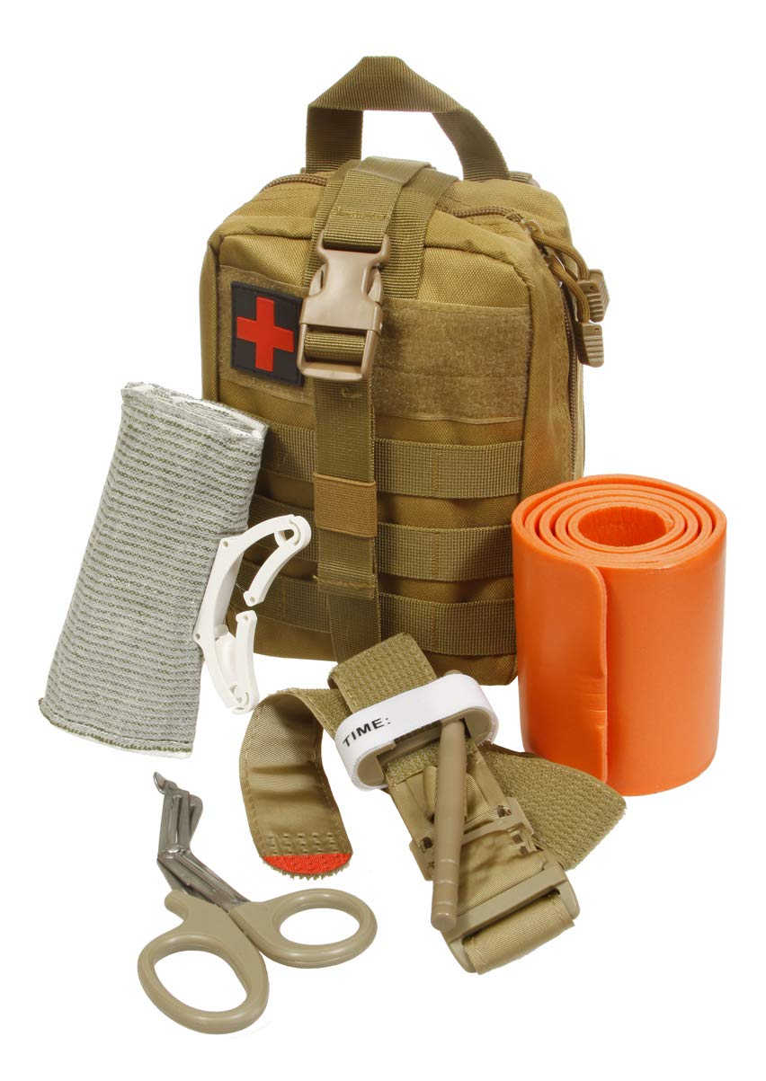Emergency Survival Trauma Medical Kit with Tourniquet 36'' Splint, Military Combat Tactical IFAK for First Aid Response, Critical Wounds, Gun Shots, Blow Out, Severe Bleeding Control (Coyote Brown)