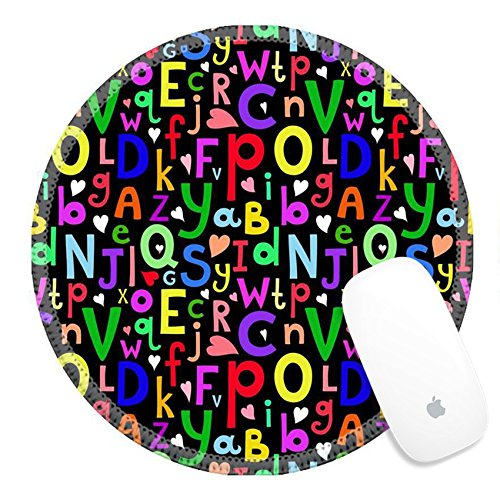 Luxlady Round Gaming Mousepad 33728906 Vector seamless pattern with Latin letters of different sizes on dark background in a cartoon style children s illustration with alphabet