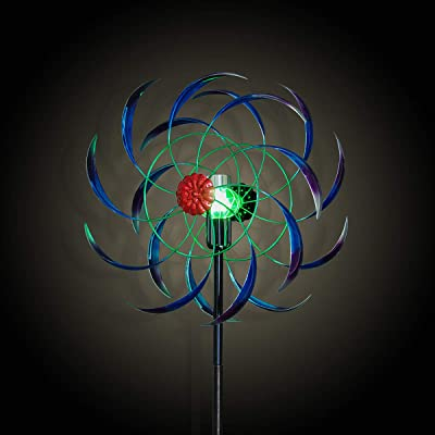 hourflik Solar Wind Spinner 3D Kinetic Wind Spinners Outdoor Metal Gardening Decorations with Multi-Color LED Lighting by Solar Powered Glass Ball with Lawn Ornament Wind Mills : Garden & Outdoor
