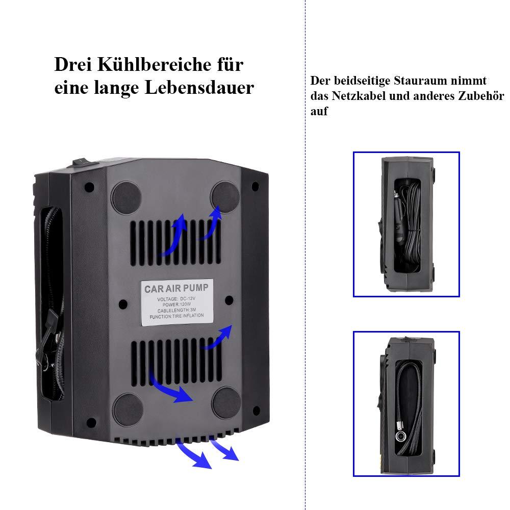 Motorrad ISSYZONE Auto Luftpumpe 12V 150PSI Luftkompressor Reifen Inflator Kompressor mit LCD Digital Manometer LED Notbeleuchtung Fahrrad Schwimmreifen 3m Ladekabel f/ür Auto
