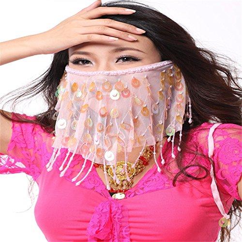 Danza del Vientre Accesorios Dancing disfraz de Headress de lentejuelas gasa velo Rosado