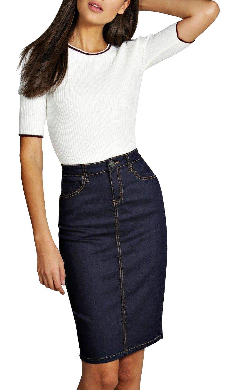 Lexi Womens Pull on Stretch Denim Skirt SKS22880 Indigo 12