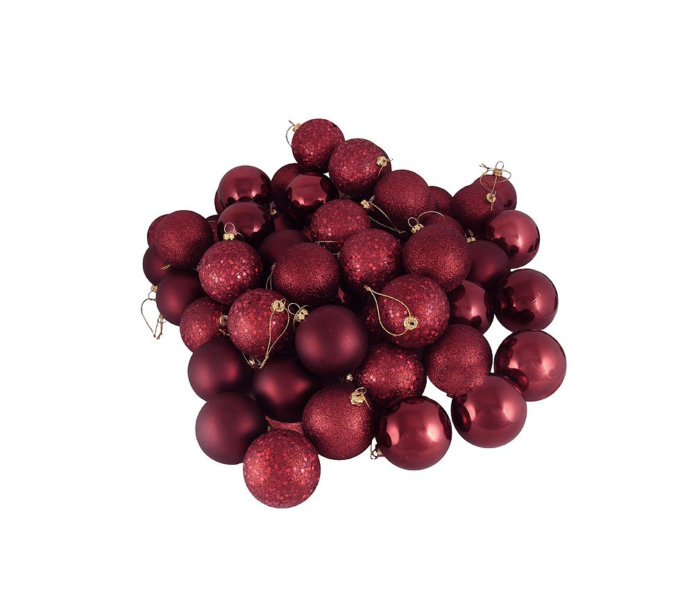 Northlight 31744247 60 Count Burgundy Shatterproof 4-Finish Christmas Ball Ornaments, 2.5''