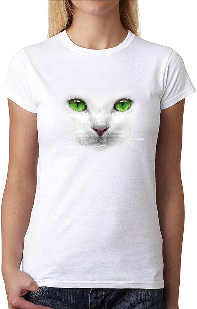 Weiß Katze Grün Augen Damen T-shirt XS-3XL Neu