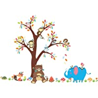ElecMotive Forest Animal Elephant Monkey Owls Bear Tortoise Koala Tree Nursery Wall Stickers Wall Murals DIY Posters…