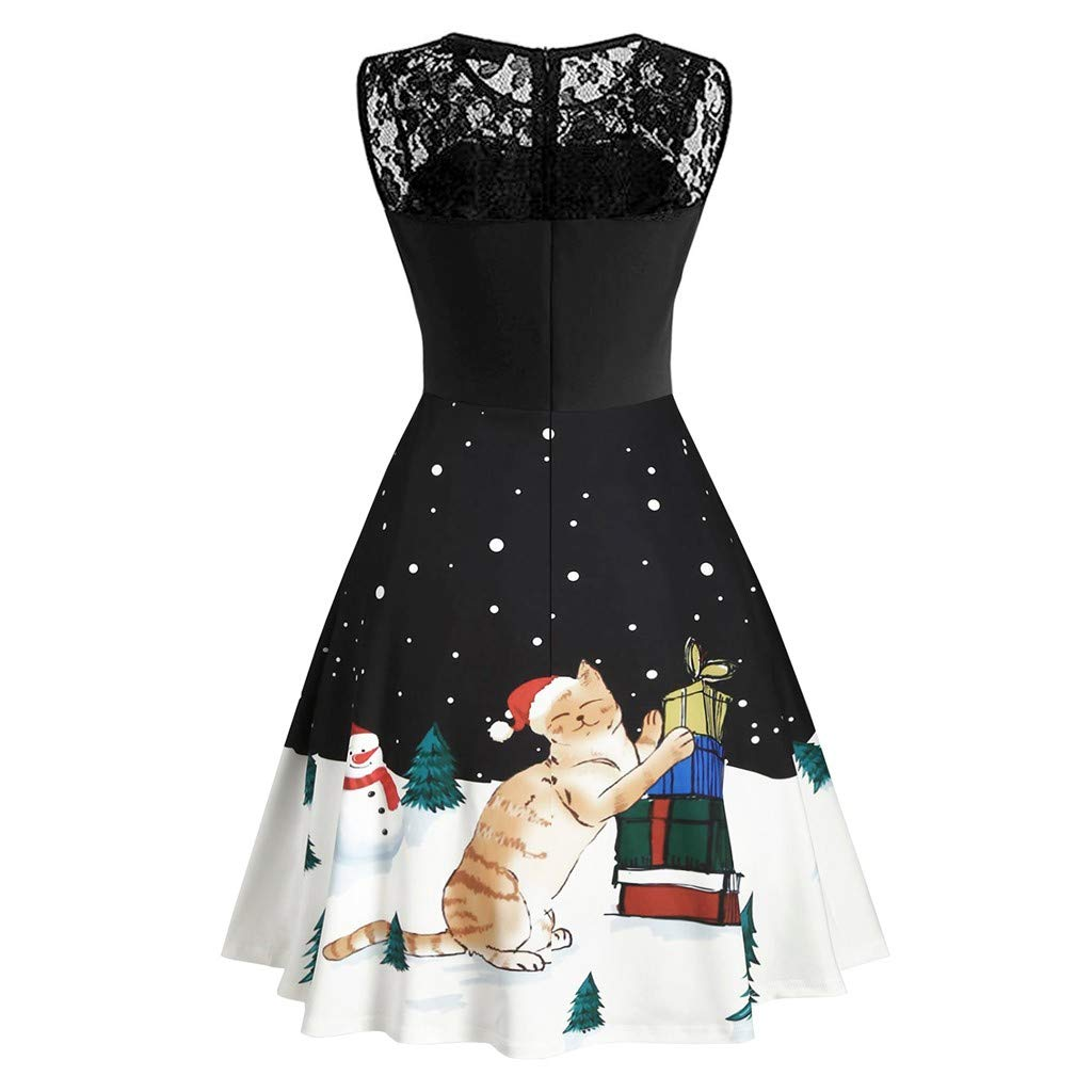 DIPOLA Womens Dress 1950s Christmas Lace Sleeveless Print Vintage Dress Cutout Cocktail Dress Casual Party Dress S-5XL 24 Styles