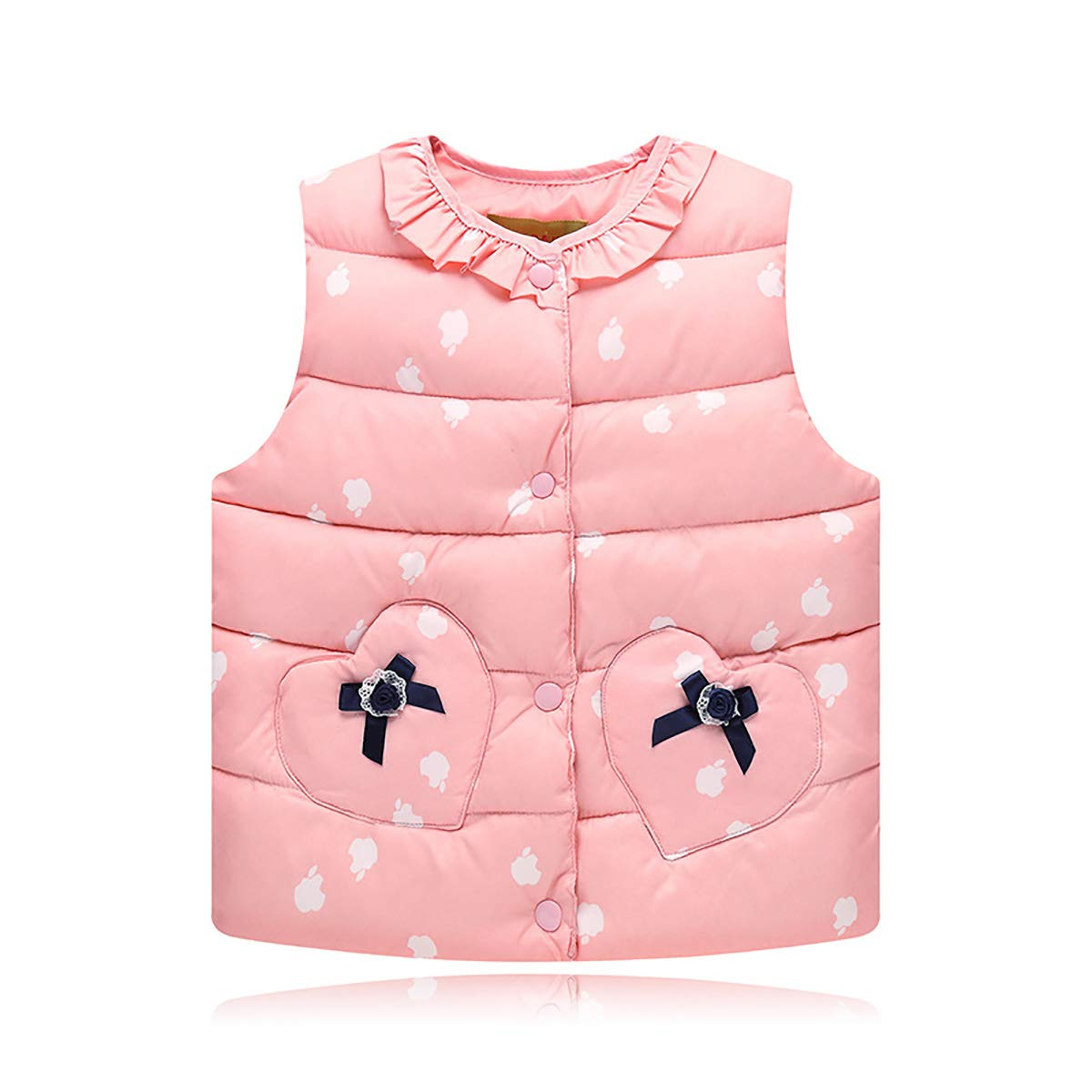 FASH Baby Girls Warm Vest Sleeveless Jacket, Infant Toddler Heart Pattern Waistcoat Kids Autumn Winter Padded Puffer Gilets for 2-7 Years,Pink,120cm by FASH