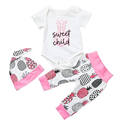 iumei Unisex Baby Girls Boys Pineapple Print Short Sleeve Romper+Long Pants+Hat 3PCS Set