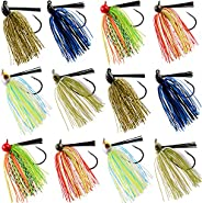 Bass Jigs Fishing Lures Weedless Football Jig Flipping Jigs Swim Jigs Rubber Skirted Baits with Weed Guard Fis