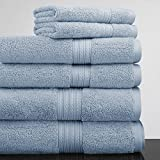 Luxor Linens New Arrival Bliss Collection Egyptian Cotton Classic 6-Piece Towel Set - Smoke Blue - with Gift Packaging