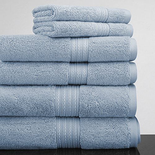 Luxor Linens New Arrival Bliss Collection Egyptian Cotton Classic 6-Piece Towel Set - Smoke Blue - with Gift - Shopping Macy's Mall
