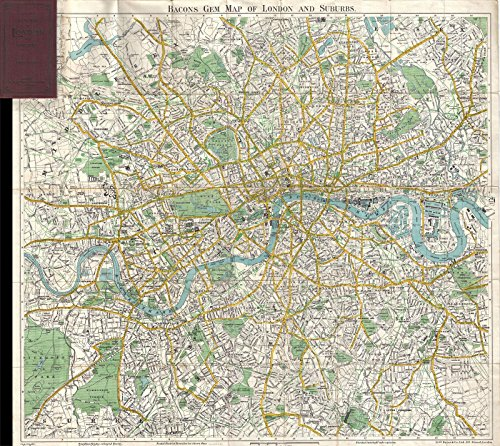 Historic 1900 Bacon Pocket Map of London, England - 24 x 22in Fine Art Print