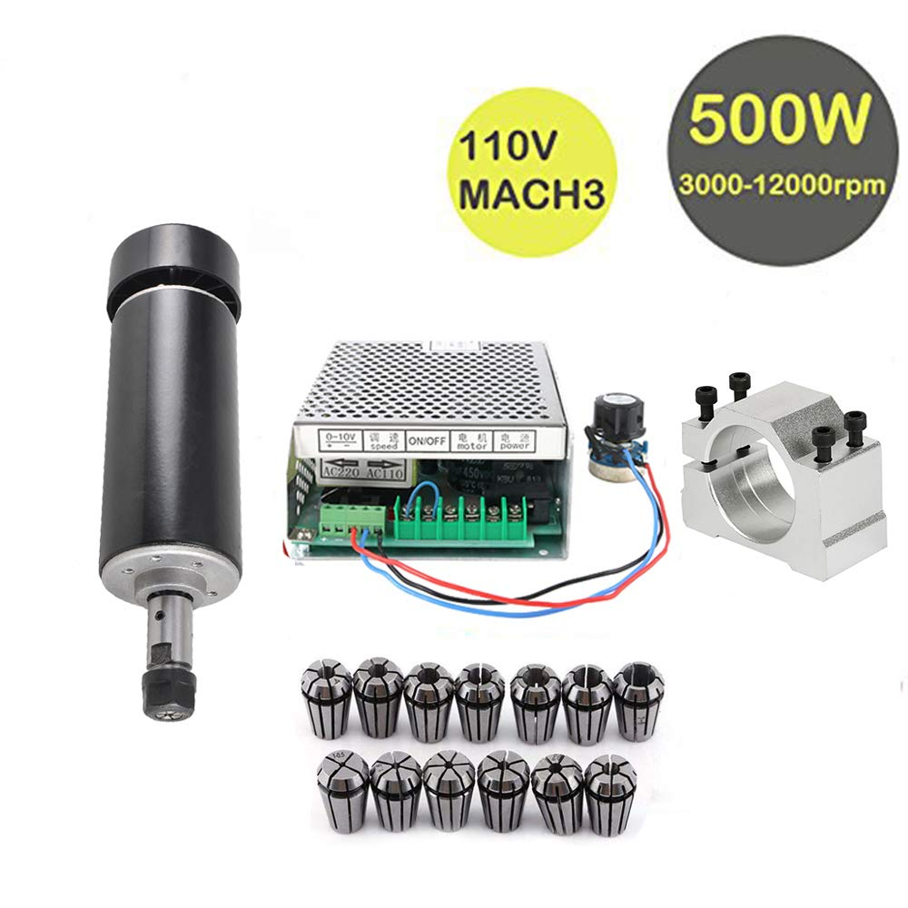 Konmison 1Set Mini CNC Lathe Air Cooled 500W Spindle Motor CNC 0.5KW with 52mm Clamps and 110V Mach3 Power Converter Spindle + 13pcs ER11 by Konmison