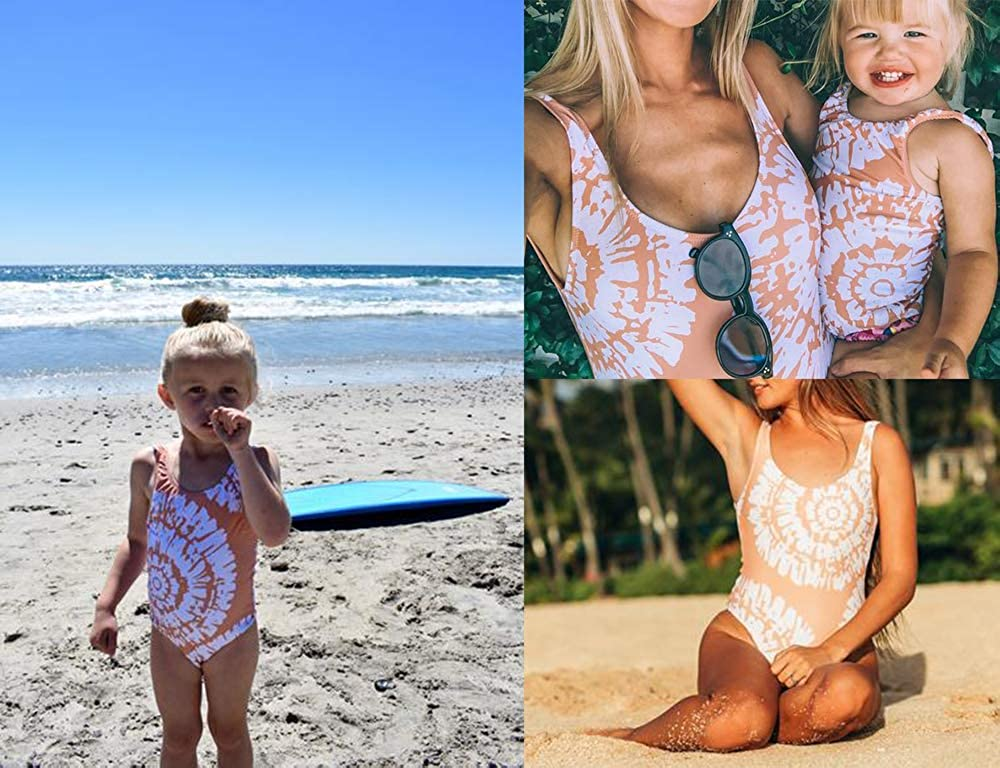 Family Matching Sunflower Swimwear One Piece Bathing Suit Mommy and Me Backless Beach Wear