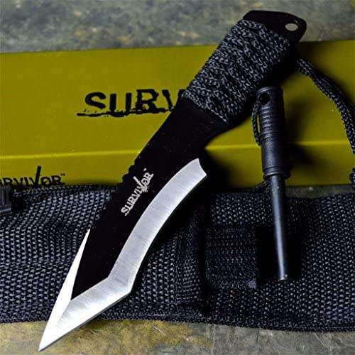 7 Tactical Combat Survival Boot Tanto Hunting Knife Bowie Military Fixed Blade