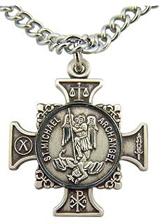 Amazon stmichael archangel cross shield prayer medal quis et dues saint michael cross 78 inch sterling silver medal mozeypictures Gallery