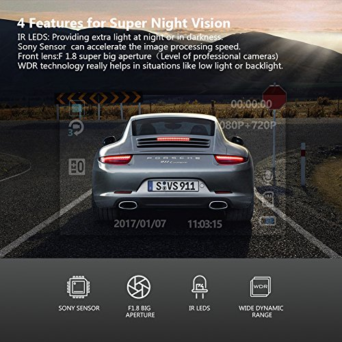 Uber Dual Lens Dash Cam Built-in GPS in Car Dashboard Camera Crosstour 1080P Front and 720P Inside with Parking Monitoring, Infrared Night Vision, Motion Detection, G-Sensor and WDR by Crosstour (Image #4)