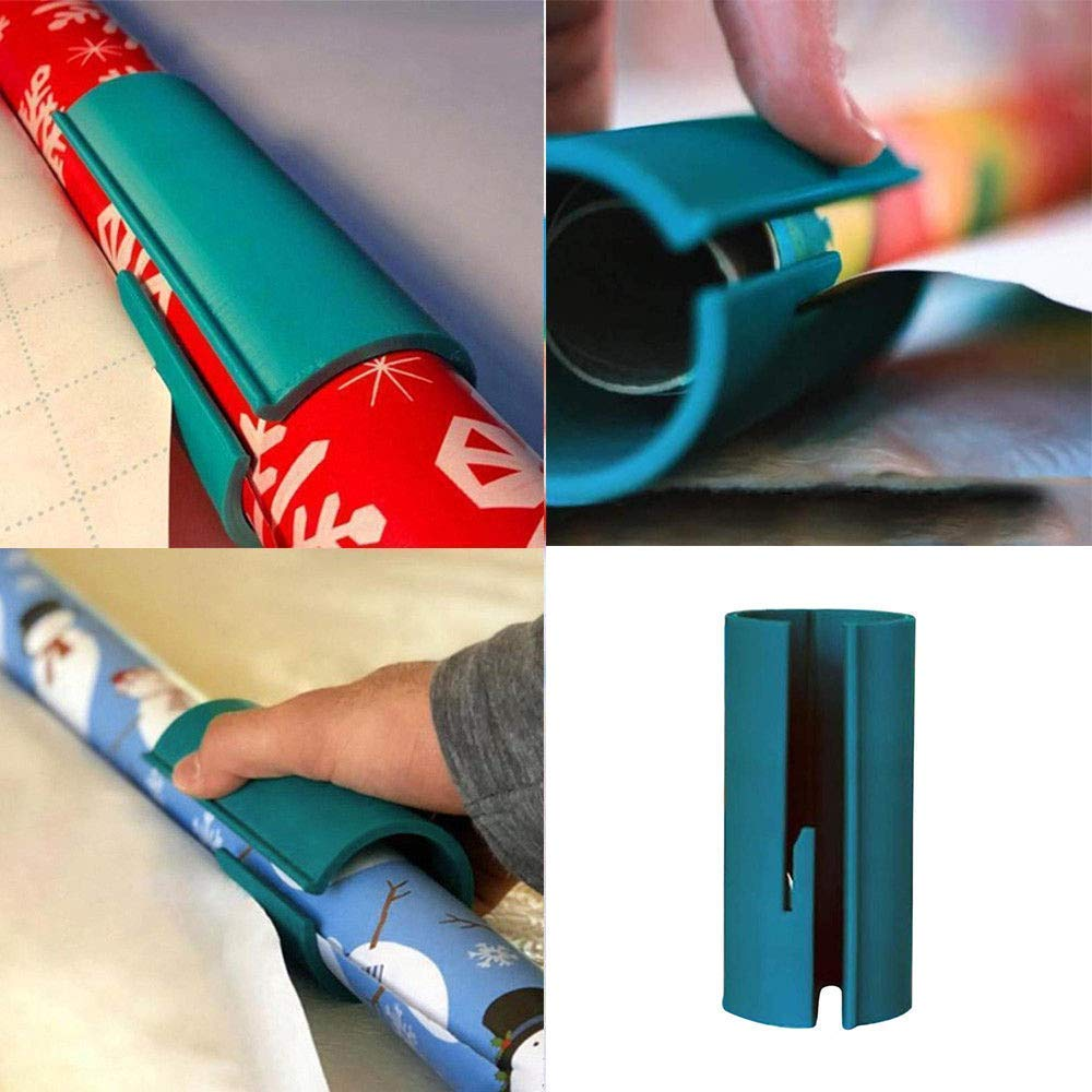 Green Wrapping Paper Cutter HEWADY Magic Sliding Paper Roll Cutters Trimmer Tool Quick Cutting Sticker in Seconds for Christmas Sticker Papers