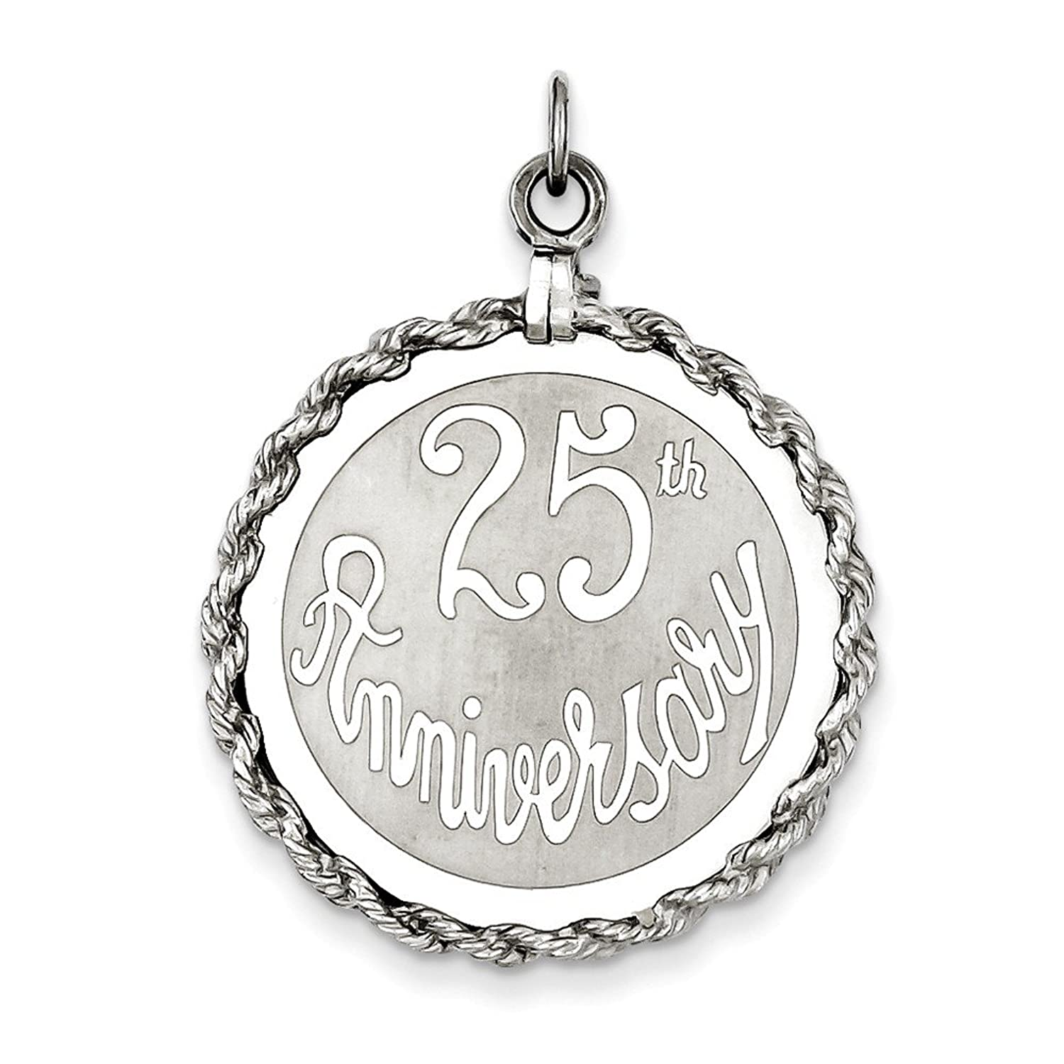Sterling Silver 25th Anniversary Disc Charm,