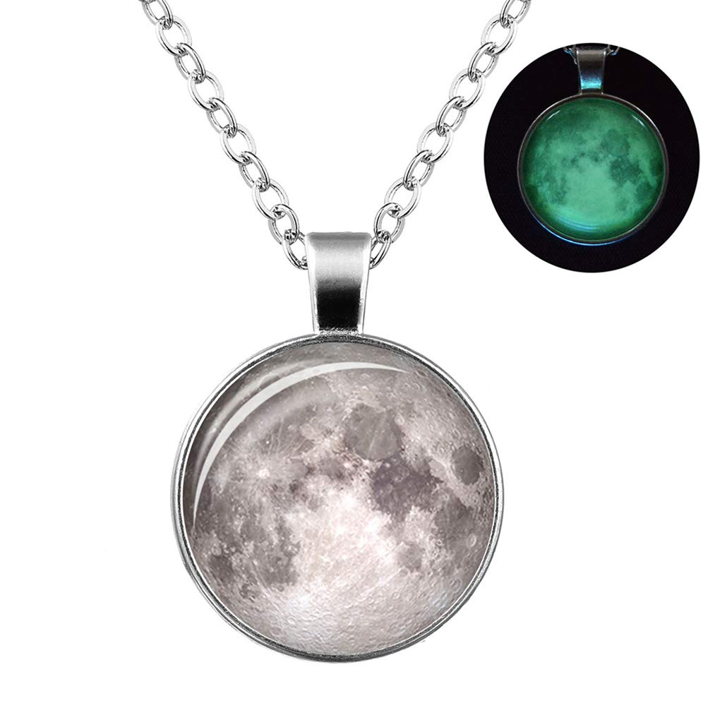Leweil Silver Moon Necklace Glow in The Dark Choker