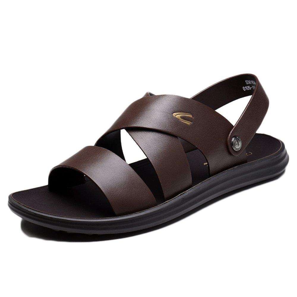 snfgoij Sandalias Para Hombres Deportes Al Aire Libre Ajustables Zapatos Cómodos Para La Playa Calzado Abierto De Cuero Genuino De Verano 38 EU|Brown2