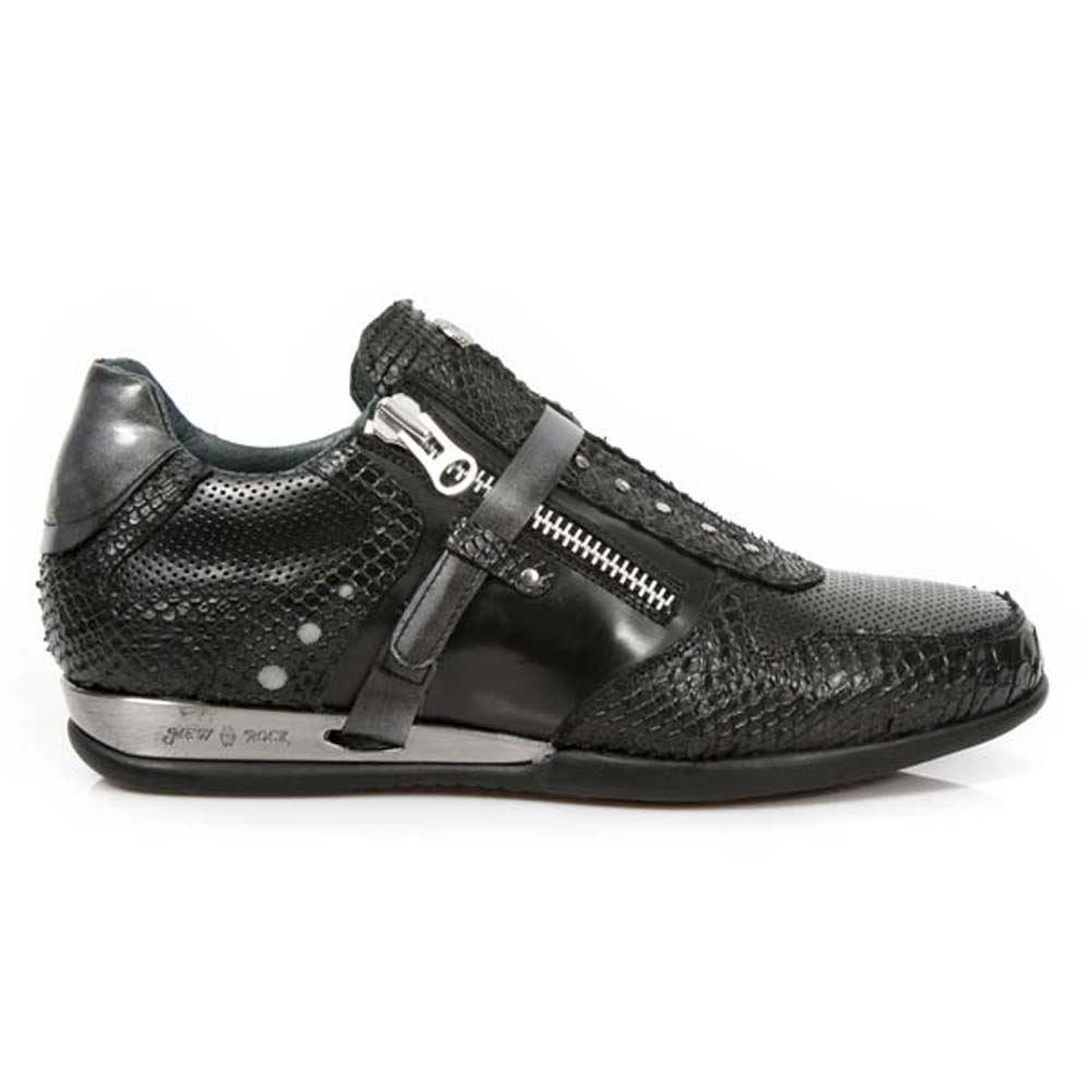 New Rock Shoes - Men's Black Hybrid Snake Skin Leather Shoes B00U7C5TZW  ブラック UK 7.5, UK 7.5