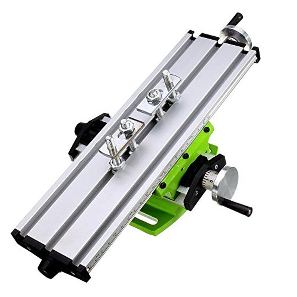 Compound Bench Compact Aluminum Worktable WoodWorking Clarmp Vise Fixture Cross Working Slide Table 2 Axis Adjustive for Mini Drill Milling Bench Top Machine 12.2inches-3.54'' (310mm 90mm)