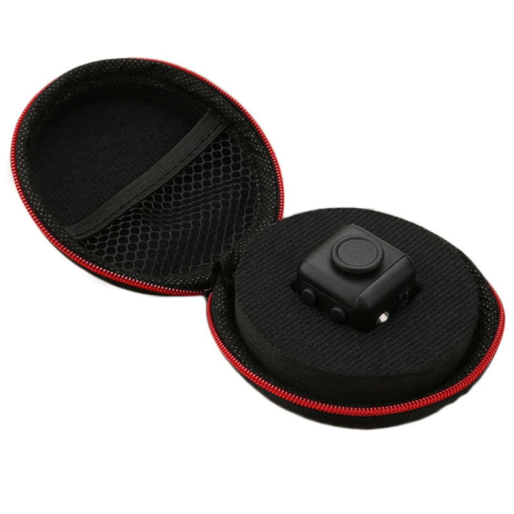 Stress Toy, Kingfansion Black Red Nylon Zipper Carry Case Portable Storage Box for Fidget Cube Toys AU