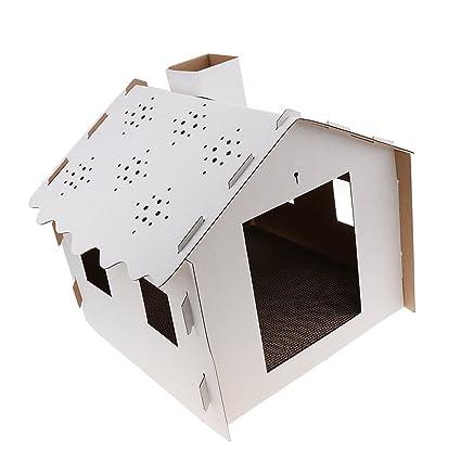 Baoblaze Casa de Rascador Gato Mascota Accesorios de Animales Doemsticos Resistente Duradero - Blanco