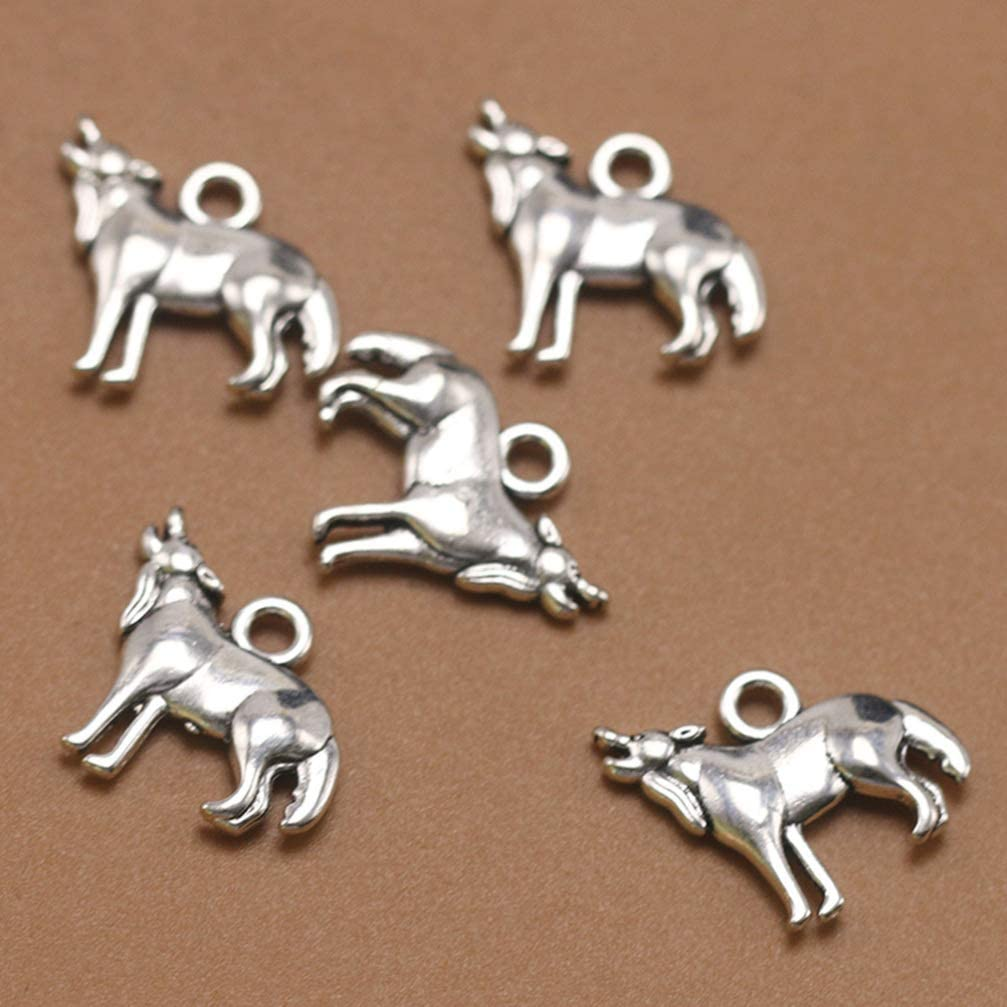 FENICAL Alloy Pendants Wolf Charms Antique Silver Pendants Charms Jewelry Making Accessory for Necklace Earrings DIY 50 pcs
