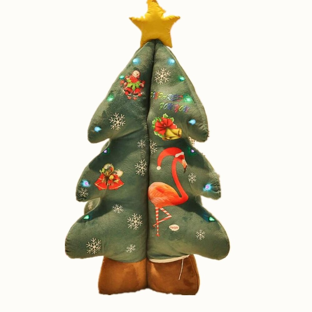 Christmas Tree Throw Pillow Colorful Light Xmas Tree New Year Decor Children Toy Gift 135cm