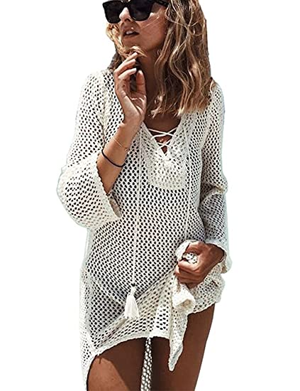 b76b006d02af4 Locryz Women s Lace-up Swimsuit Bathing Suit Cover Up Beach Bikini Swimwear  Crochet Dress (
