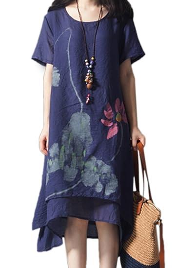 nouveau produit 8e26a 3376d Yulinge Femme Vintage Robe Été Lin Coton Chic Boheme Florale De Soiree Midi  Robes Longue
