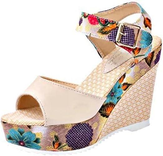 BeautyTop Sandali Estivi da Donna con Zeppa Elegante Ragazze Estate Sandali Scarpe da con Tacco Alto Caviglia Aperte Peep Sandalo