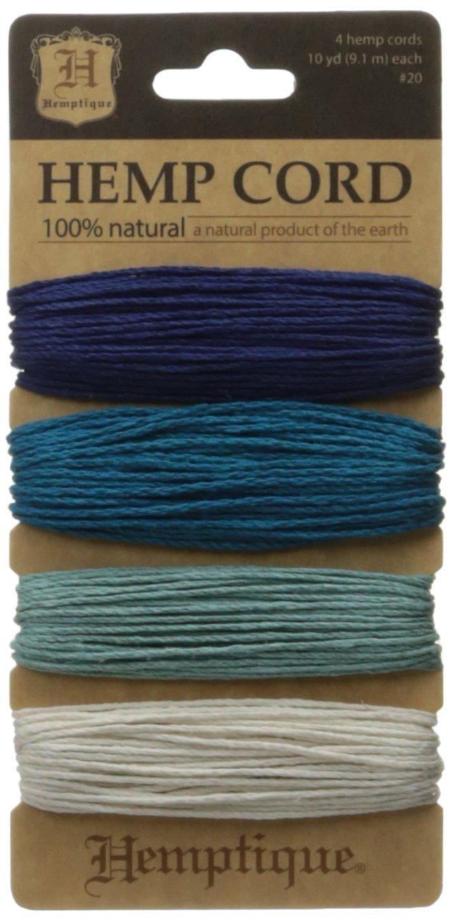 Hemptique - Set di 4 rocchetti di spago con resistenza media di 9 kg, colore. acquamarina HC200-TIDE