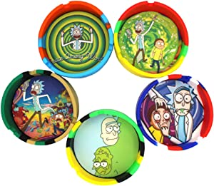 Rick and Morty Collectible Silicone Ash Tray 3.5 inch with Removable Dab Mat (1ct. Random Design)