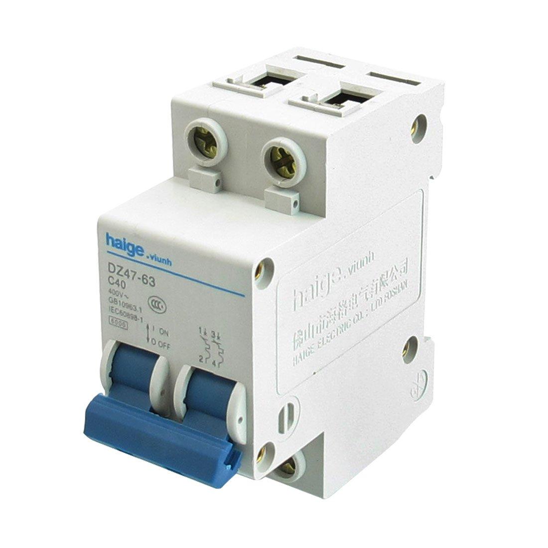 Uxcell Ac 400v 40a 6000a 2 P Mcb Miniature Circuit Breaker Dz47 63 Electrical Machine C40