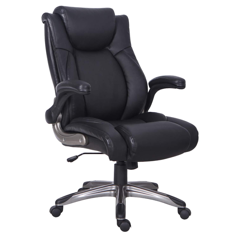 KADIRYA Big and Tall High Back Chair for Big Man with Flip-up Armrest Adjustable Height Thick Padding Seat Comfortable Ergonomic Headrest Lumbar Support Black