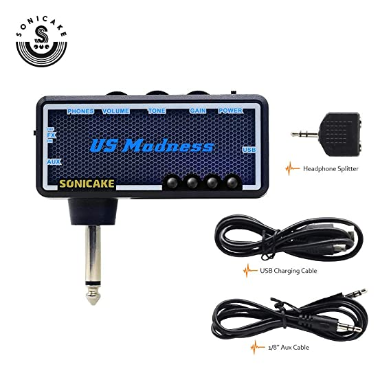 USB Chargable, Fit on Strat SONICAKE Guitar Bass Headphone Amp Plug-In US Madness w//h Chorus /& Reverb Effects /& Vintage Clean Tone