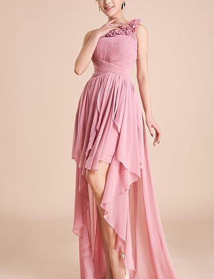Lactraum LF4053 Brautjungfernkleid Ballkleid Abendkleid Abschlussball  Kleider Hochzeit 3D-Blumen kleider Abiballkleid 3 Rosa One-Shoulder:  Amazon.de: ...