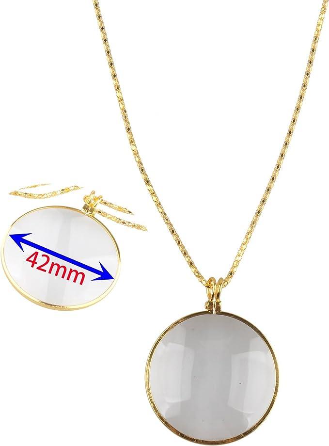 Ciondolo 42/mm diametro lente di ingrandimento 5/x lente di ingrandimento con lente di ingrandimento portatile Pocket lente di ingrandimento monocolo per libri di artigianato gioielli hobby Golden