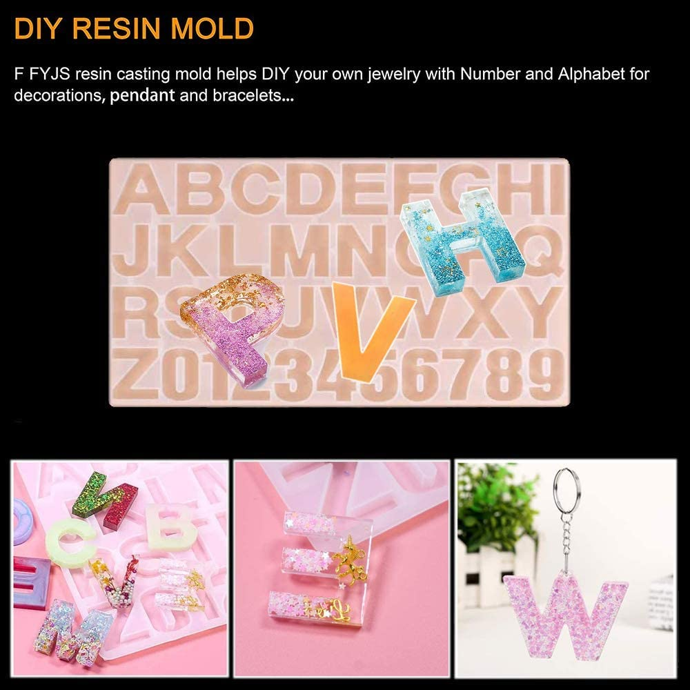 Resin Casting Alphabet Mold Resin Molds DIY Alphabet Silicone Molds,Letter /& Number Silicone Mold for Epoxy Resin Crafts